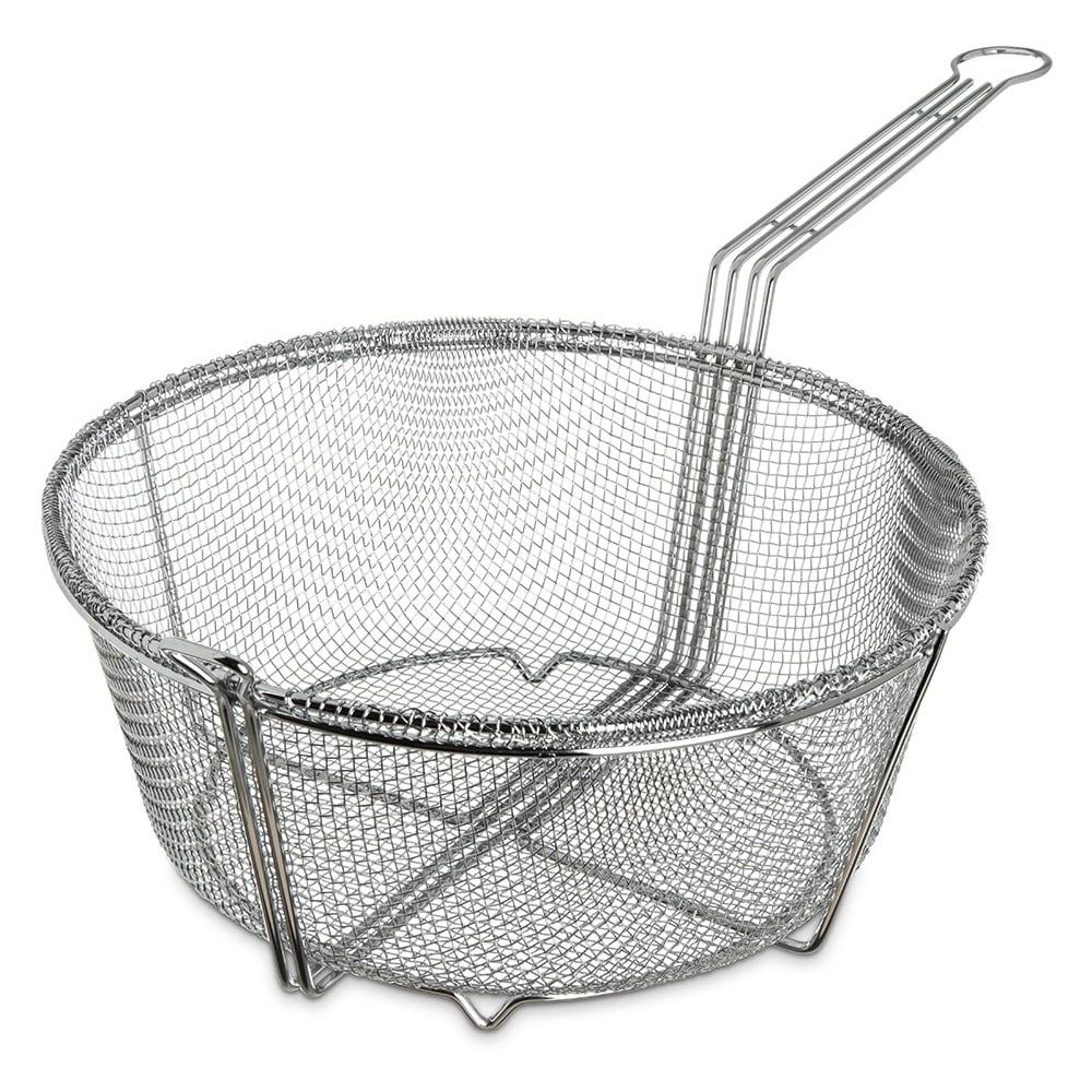 "Carlisle 601003 Fryer Basket w/ Uncoated Handle & Front Hook, 13.5"" Round x 6.25"""