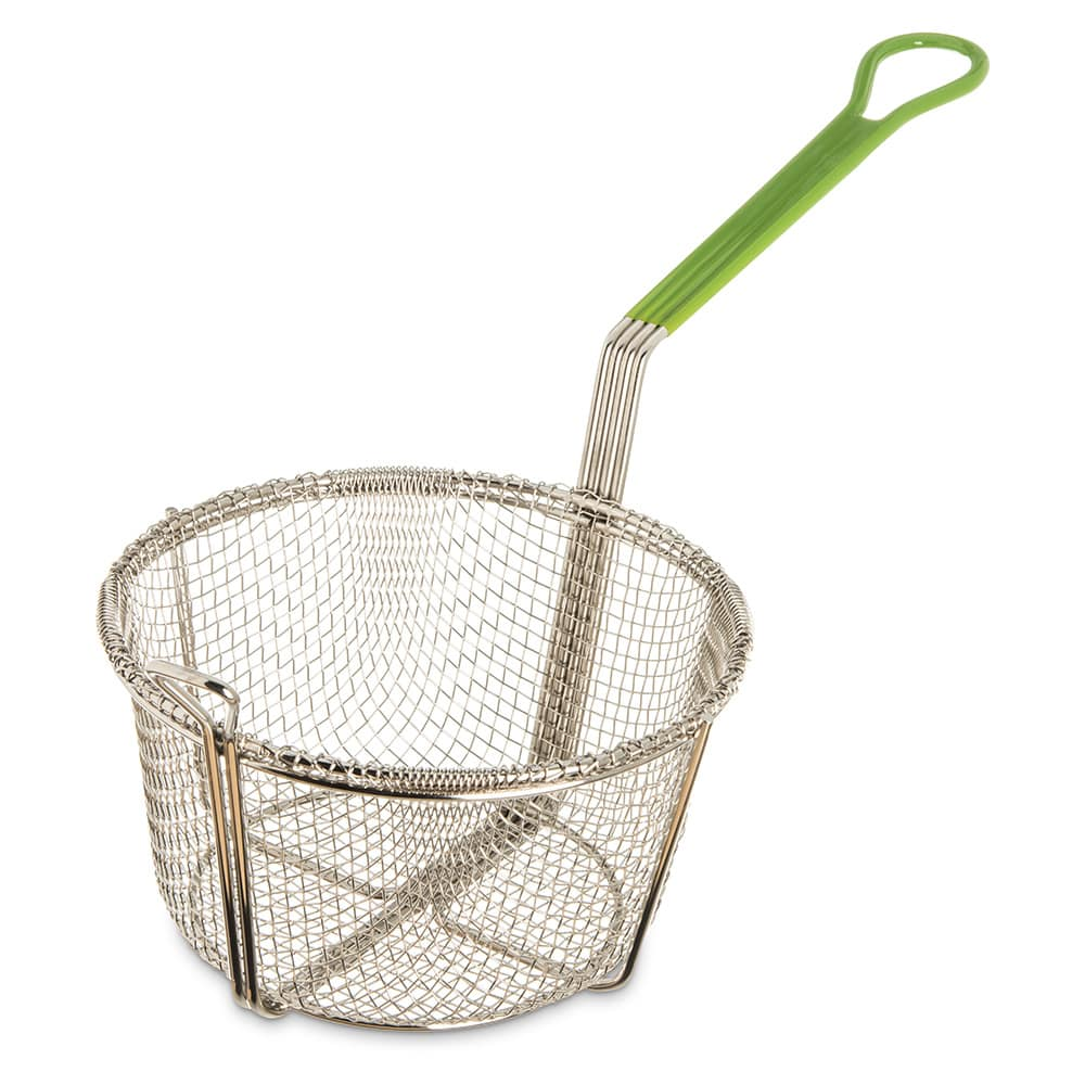 "Carlisle 601028 Fryer Basket w/ Coated Handle & Front Hook, 8.75"" Round x 3.75"""