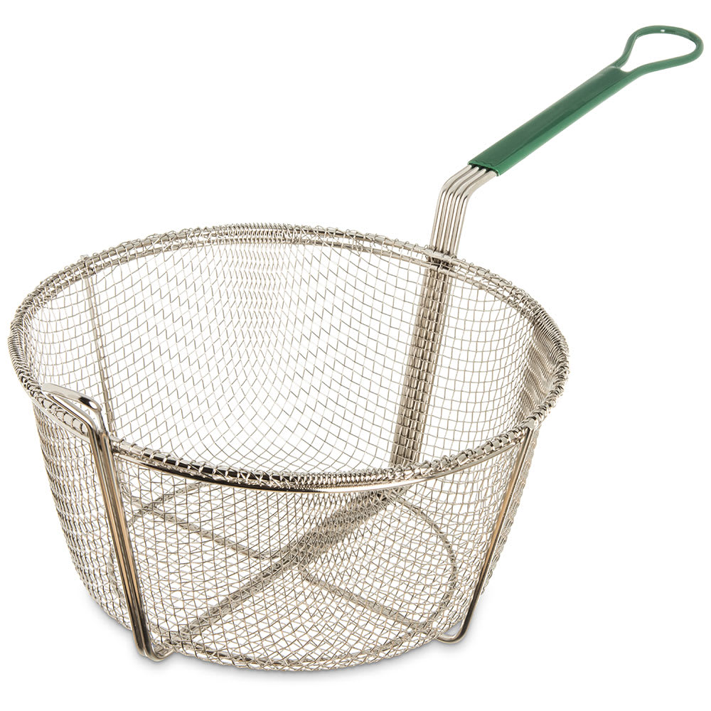 "Carlisle 601031 Fryer Basket w/ Coated Handle & Front Hook, 11.5"" Round x 5.13"""