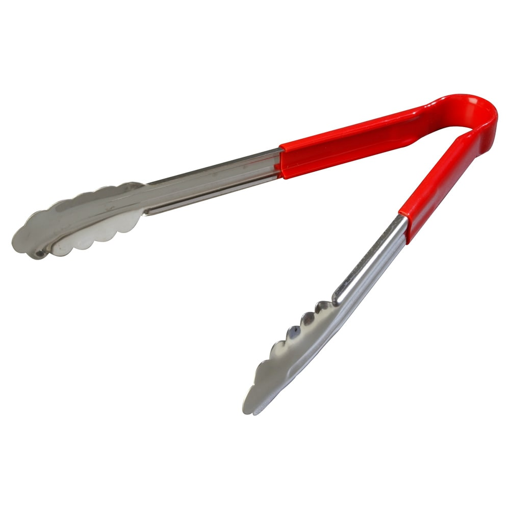 "Carlisle 60756205 12"" Utility Tongs - Stainless/Red"