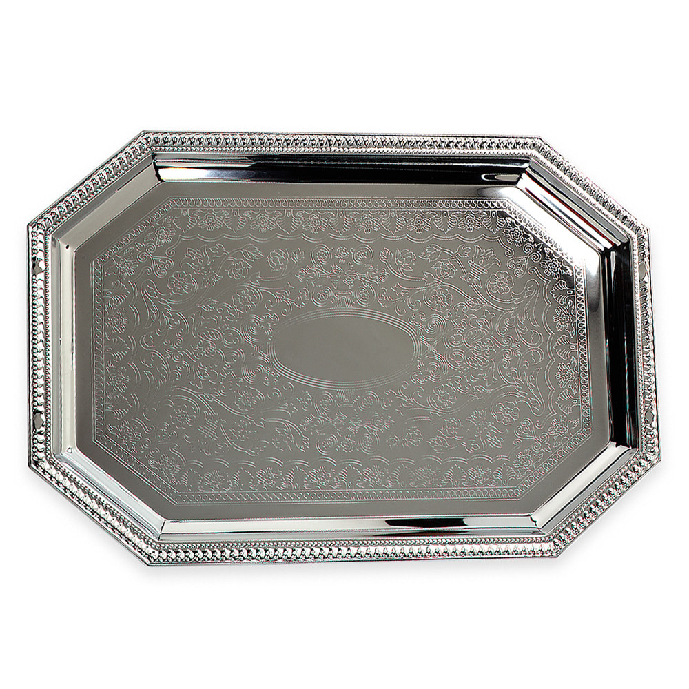 "Carlisle 608901 Octagonal Celebration Tray - 17 1/8x11 3/4"" Mirror-Finish Carbon Steel"