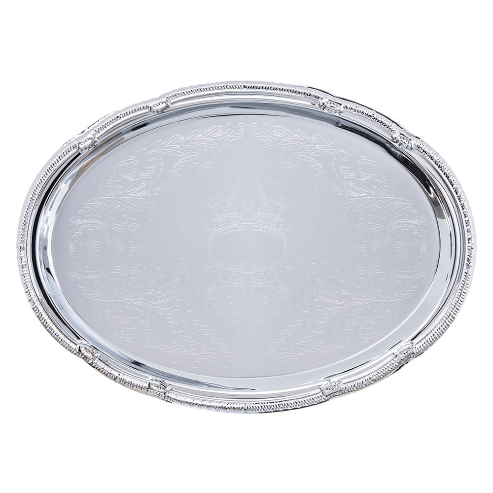 "Carlisle 608904 Oval Celebration Tray - 17 7/16x12 7/8"" Chrome-Plated"