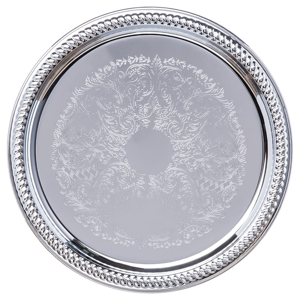 "Carlisle 608905 13"" Round Celebration Tray - Chrome-Plated"