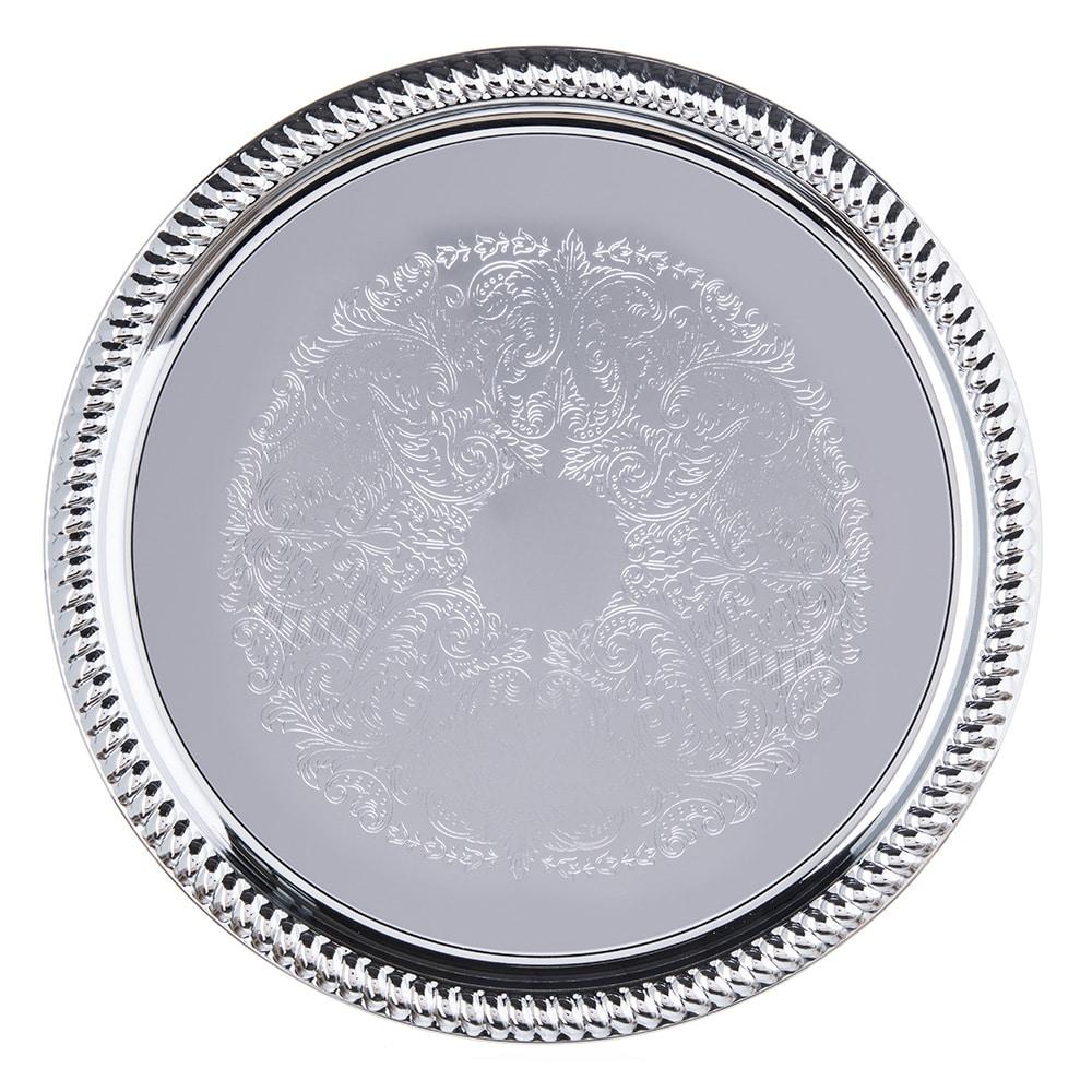 """Carlisle 608907 14"""" Round Celebration Tray - Chrome-Plated"""