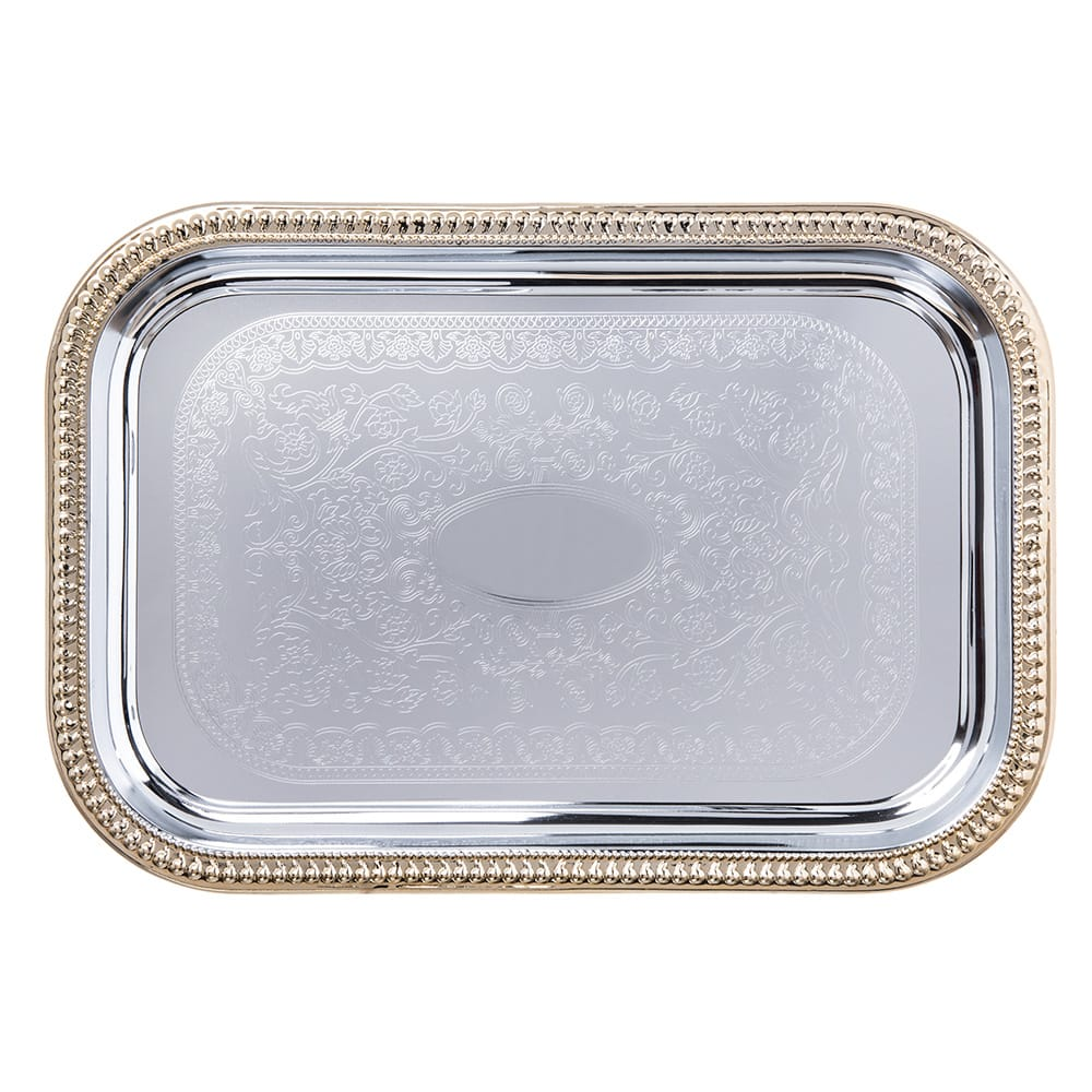 "Carlisle 608908 Rectangular Celebration Tray - 18 1/4x12 3/8"" Chrome-Plated"