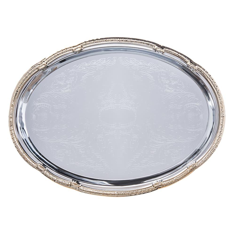 "Carlisle 608913 Oval Celebration Tray - 17 3/4x12 7/8"" Chrome Plated"