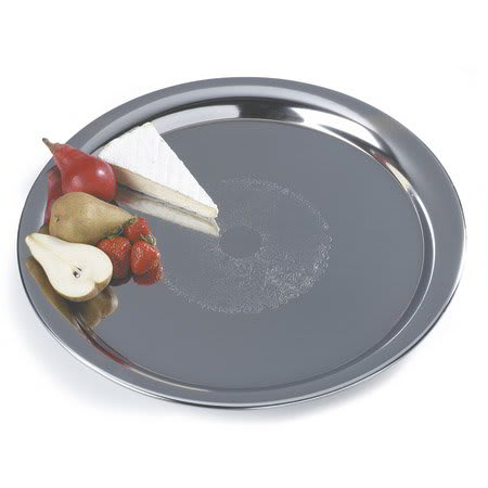 "Carlisle 608917 22"" Round Serving Tray - Embossed, 18/8 Stainless"