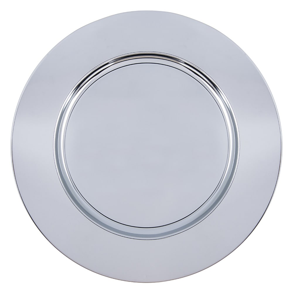 "Carlisle 608924 12.25"" Round Charger Plate w/ Wide Rim, Chrome"