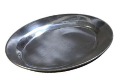 "Carlisle 60902 Oval Steak/Fajita Platter - 12-1/2x8-1/2"" Mirror-Finish Aluminum"