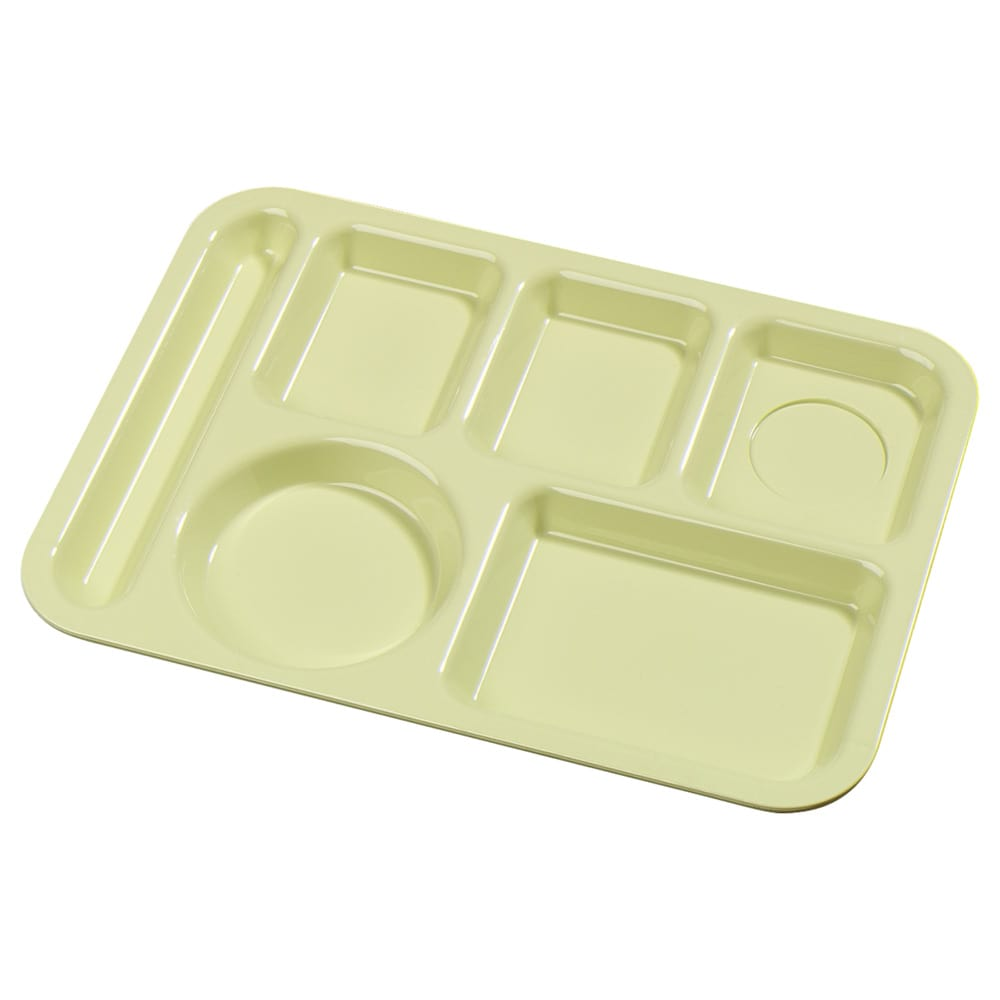 "Carlisle 61404 Rectangular Tray w/ (6) Compartments, 13.875"" x 9.875"", Plastic, Yellow"
