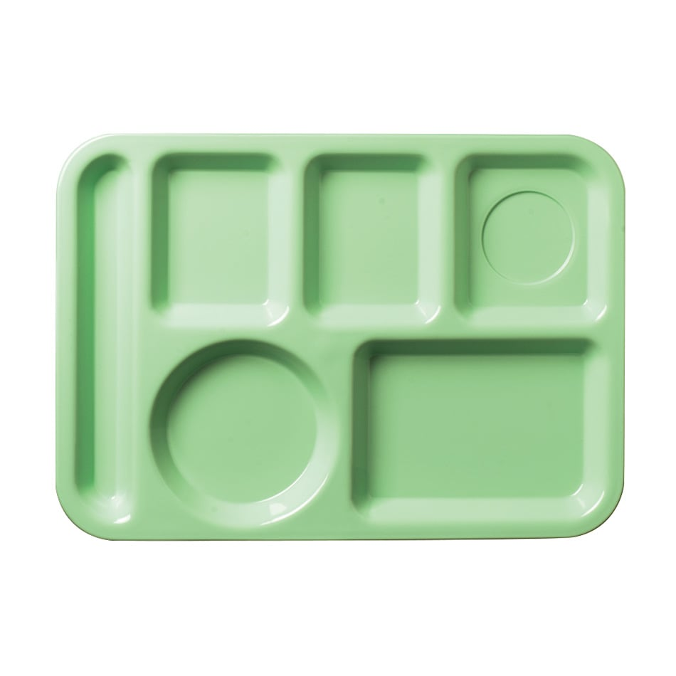 "Carlisle 61409 Rectangular Tray w/ (6) Compartments, 13.875"" x 9.875"", Plastic, Green"