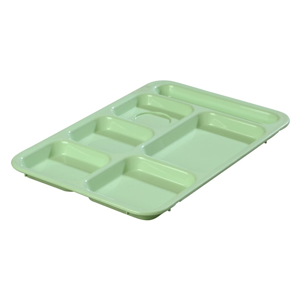 "Carlisle 614R09 Rectangular Tray w/ (6) Compartments, 14.375"" x 10"", Plastic, Green"