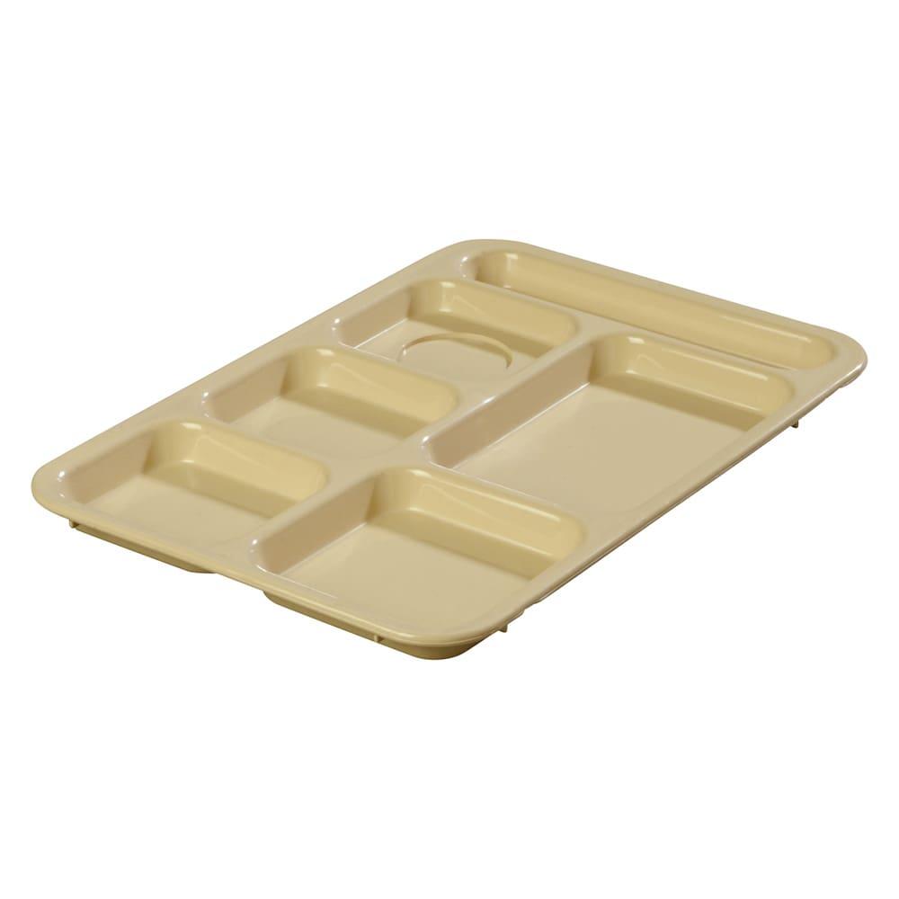 "Carlisle 614R25 Rectangular Tray w/ (6) Compartments, 14.375"" x 10"", Plastic, Tan"