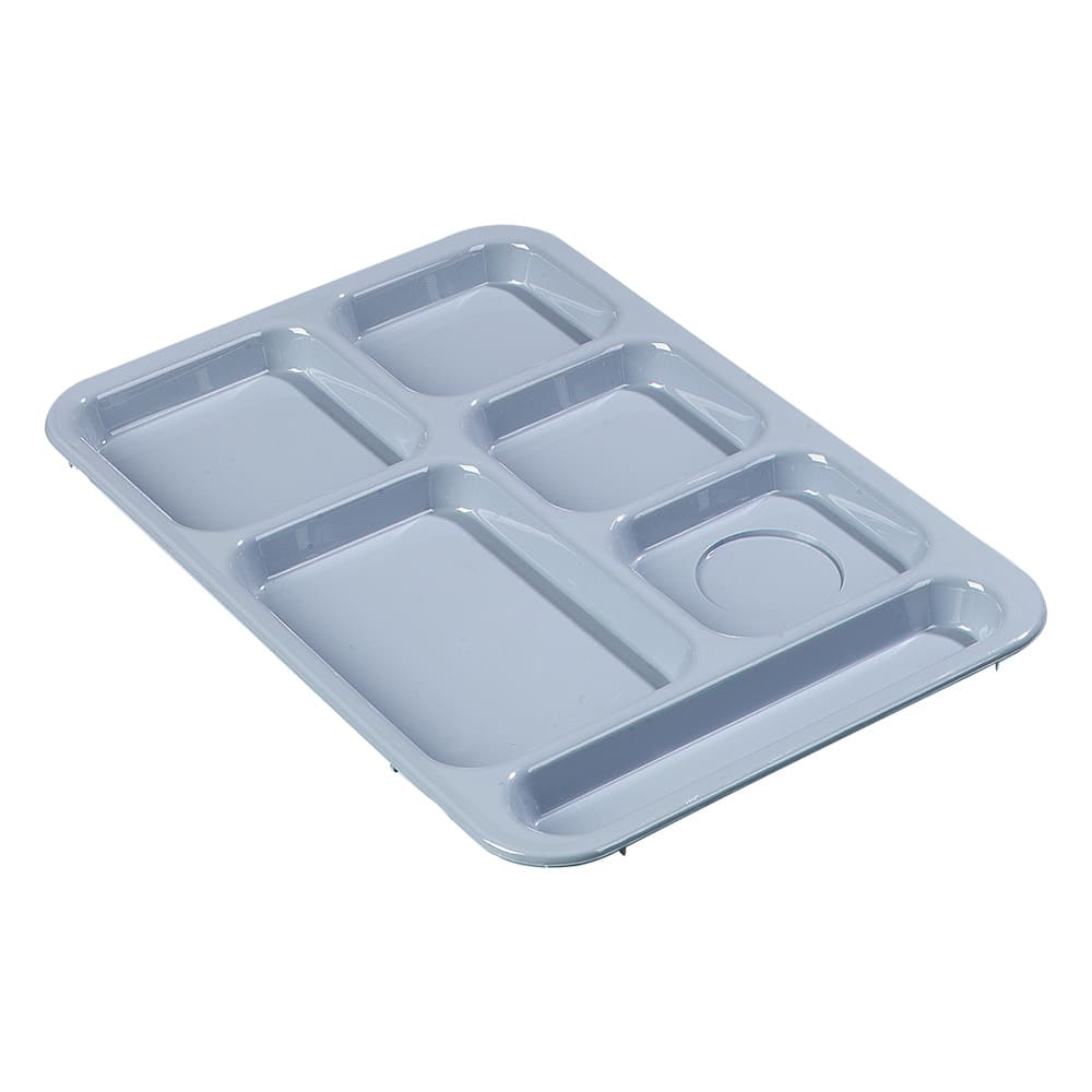 "Carlisle 614R59 Rectangular Tray w/ (6) Compartments, 14.375"" x 10"", Plastic, Slate Blue"