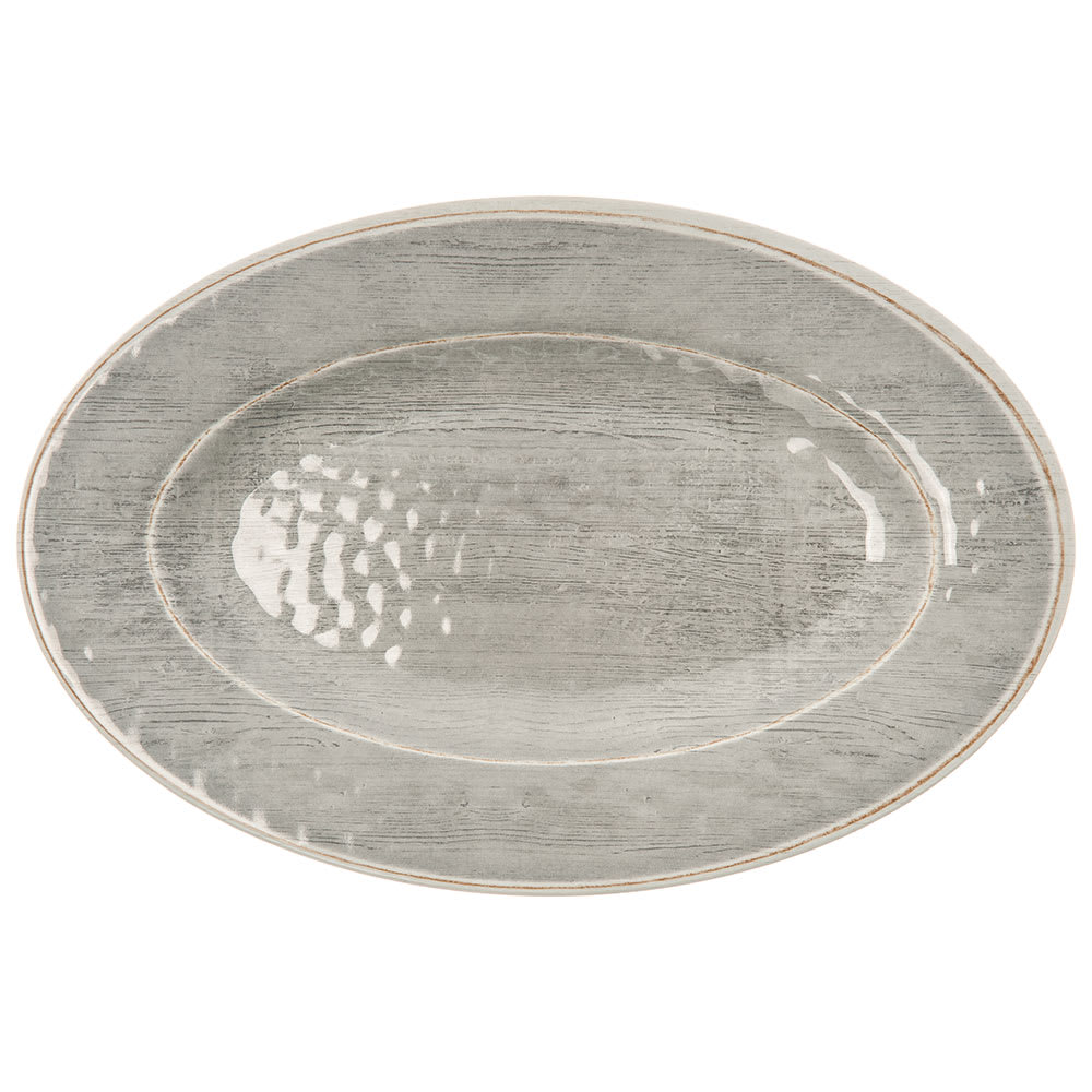 "Carlisle 6402118 Grove Oval Serving Tray - 20"" x 14"", Melamine, Smoke Gray"
