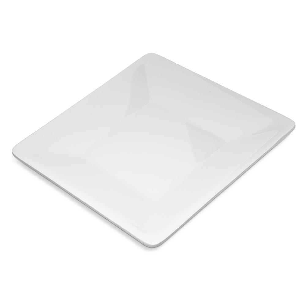 "Carlisle 6402802 8"" Square Grove Plate - Melamine, White"