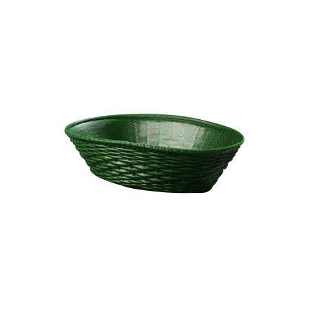 "Carlisle 650409 Oval Bread Basket - 9"" x 6.25"", Polypropylene, Green"