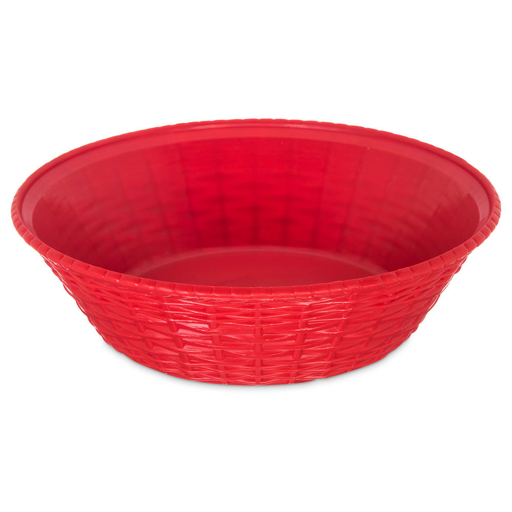 "Carlisle 652405 9"" Round Bread Basket - Polypropylene, Red"