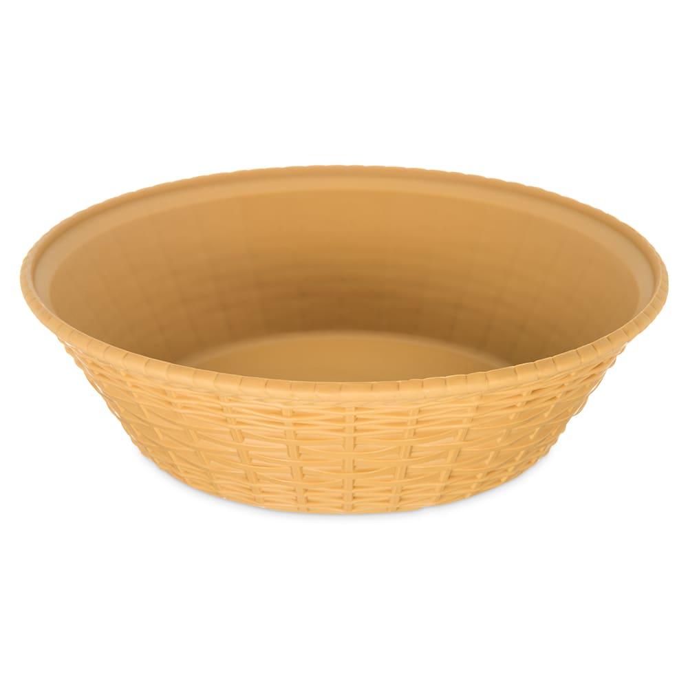 "Carlisle 652467 9"" Round Bread Basket - Polypropylene, Straw"