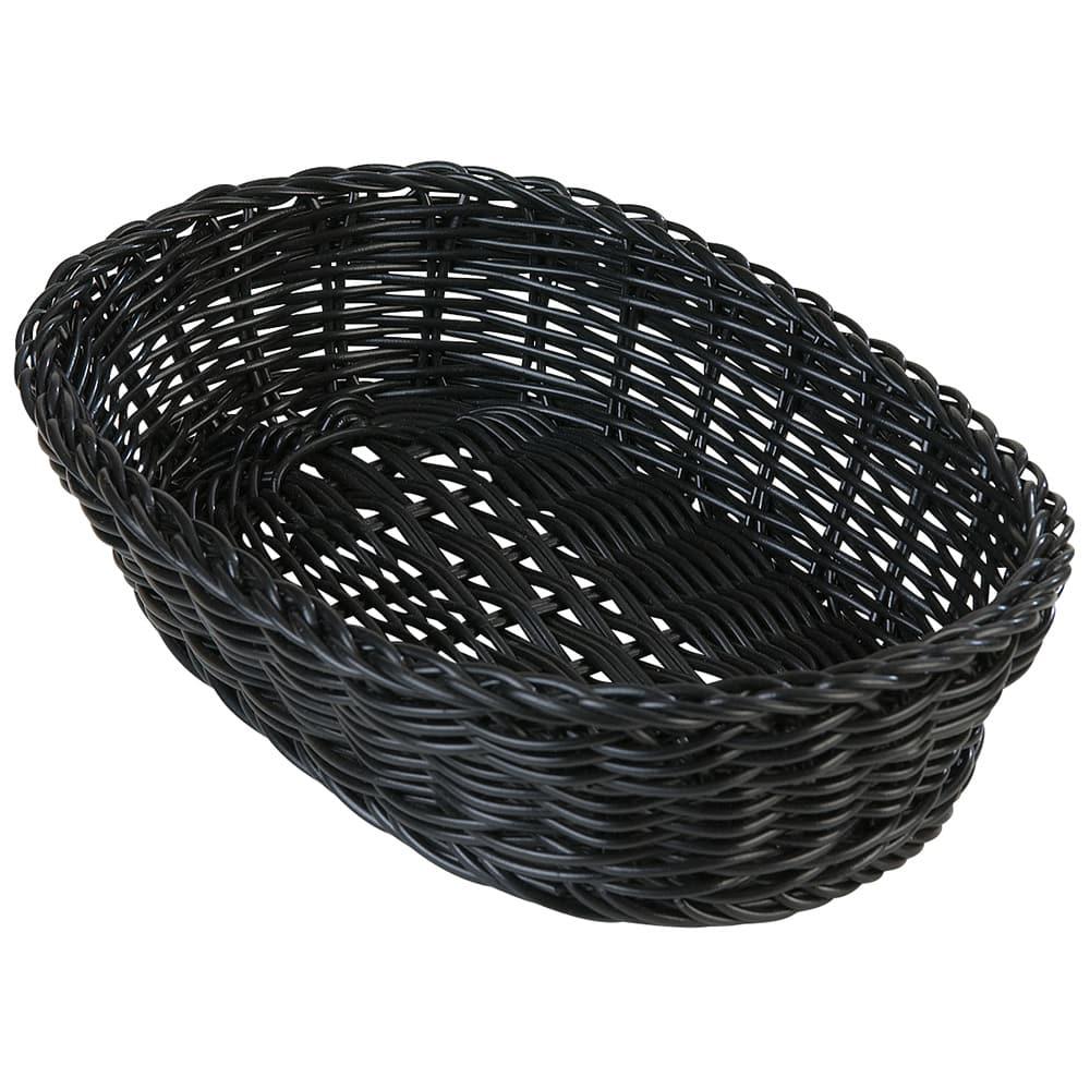 "Carlisle 655103 Oval Bread Basket - 11.75"" x 7.75"" x 2.75"", Polypropylene, Black"