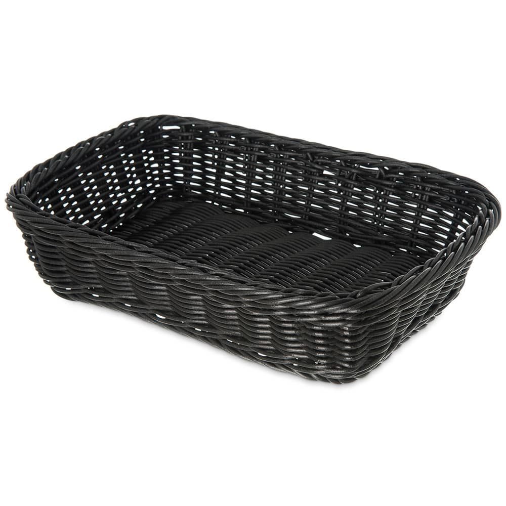 "Carlisle 655203 Rectangular Bread Basket - 11.5"" x 8.5"" x 2.75"", Polypropylene, Black"