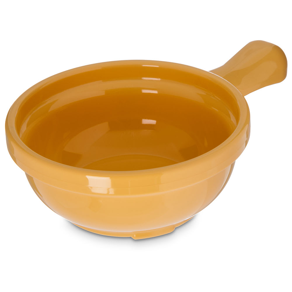 "Carlisle 700622 4.625"" Round Handled Soup Bowl w/ 8-oz Capacity, Plastic, Yellow"