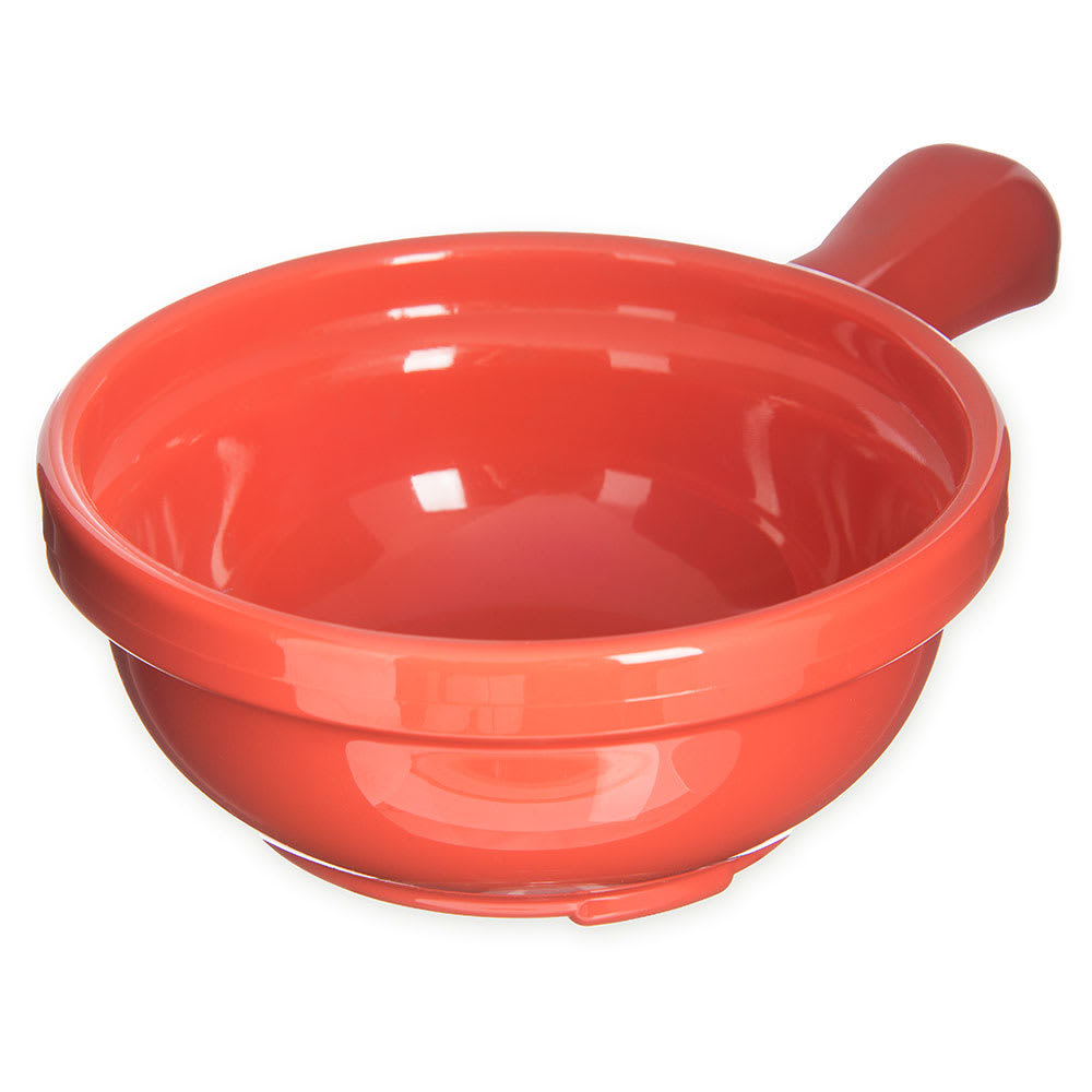"Carlisle 700652 4.625"" Round Handled Soup Bowl w/ 8-oz Capacity, Plastic, Sunset Orange"