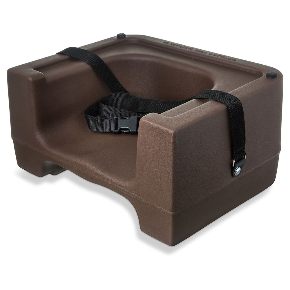 Carlisle 7111-401 Dual-Height Booster Seat w/ Safety Strap - Polyethylene, Brown