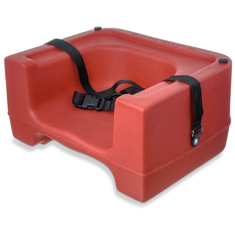Carlisle 7111-405 Dual-Height Booster Seat w/ Safety Strap - Polyethylene, Red