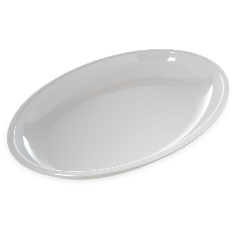 """Carlisle 791802 Oval Platter - 19"""" x 13.75"""", Melamine, White"""