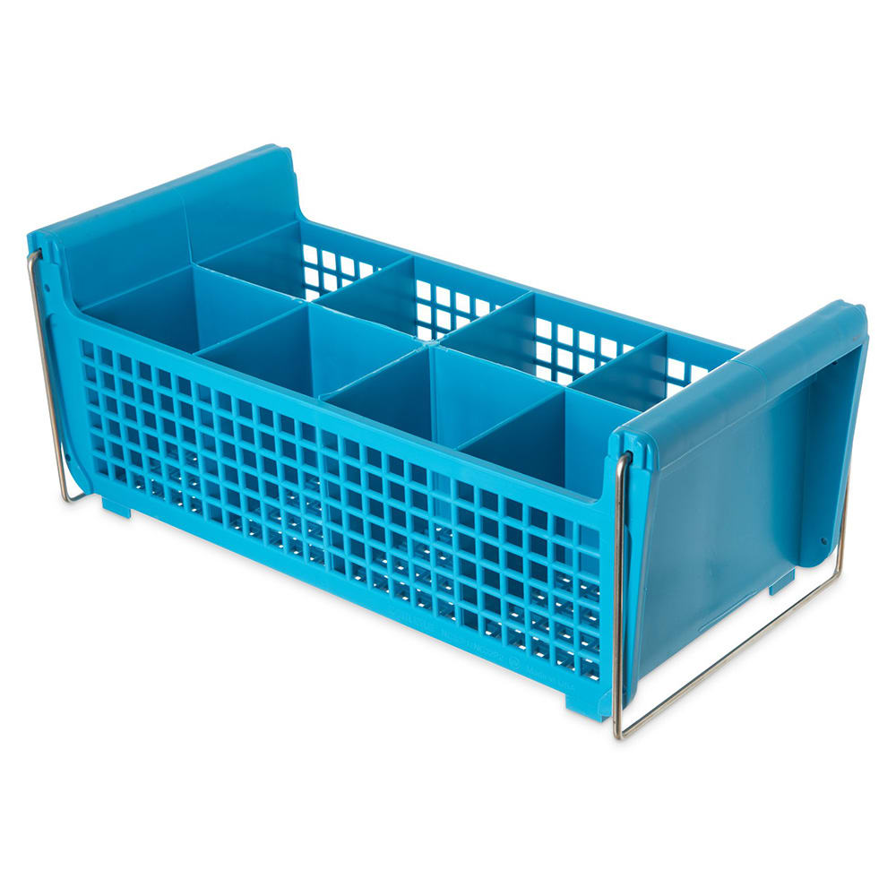 Carlisle C32P214 Flatware Basket - (8)Compartments, Wire Handles, Polypropylene, Blue