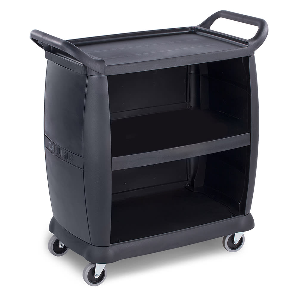 "Carlisle CC2036P03 36.25""L Polymer Bus Cart w/ (3) Levels, Shelves, Black"