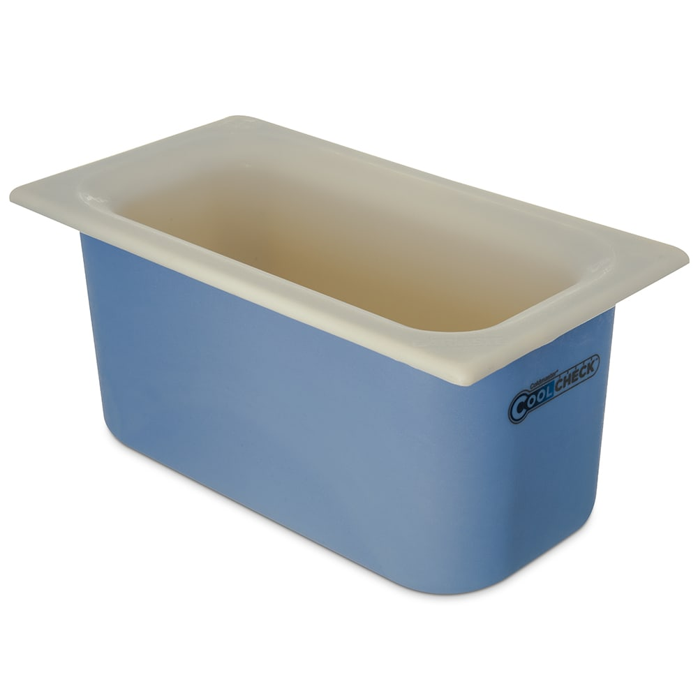 Carlisle CM1102C1402 1/3 Size Coldmaster Coolcheck Food Pan - Plastic, White/Blue