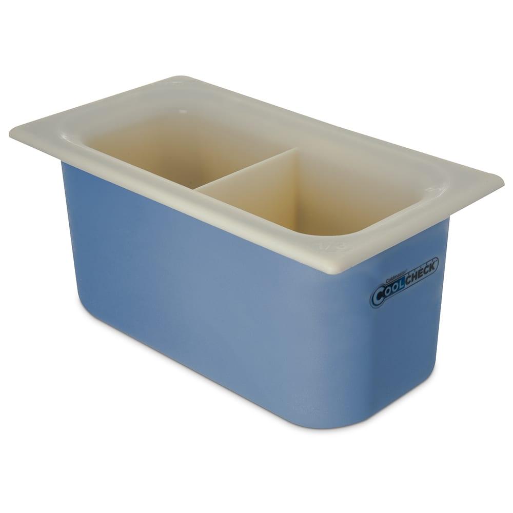 Carlisle CM1103C1402 1/3 Size Coldmaster Coolcheck Food Pan - Plastic, White/Blue