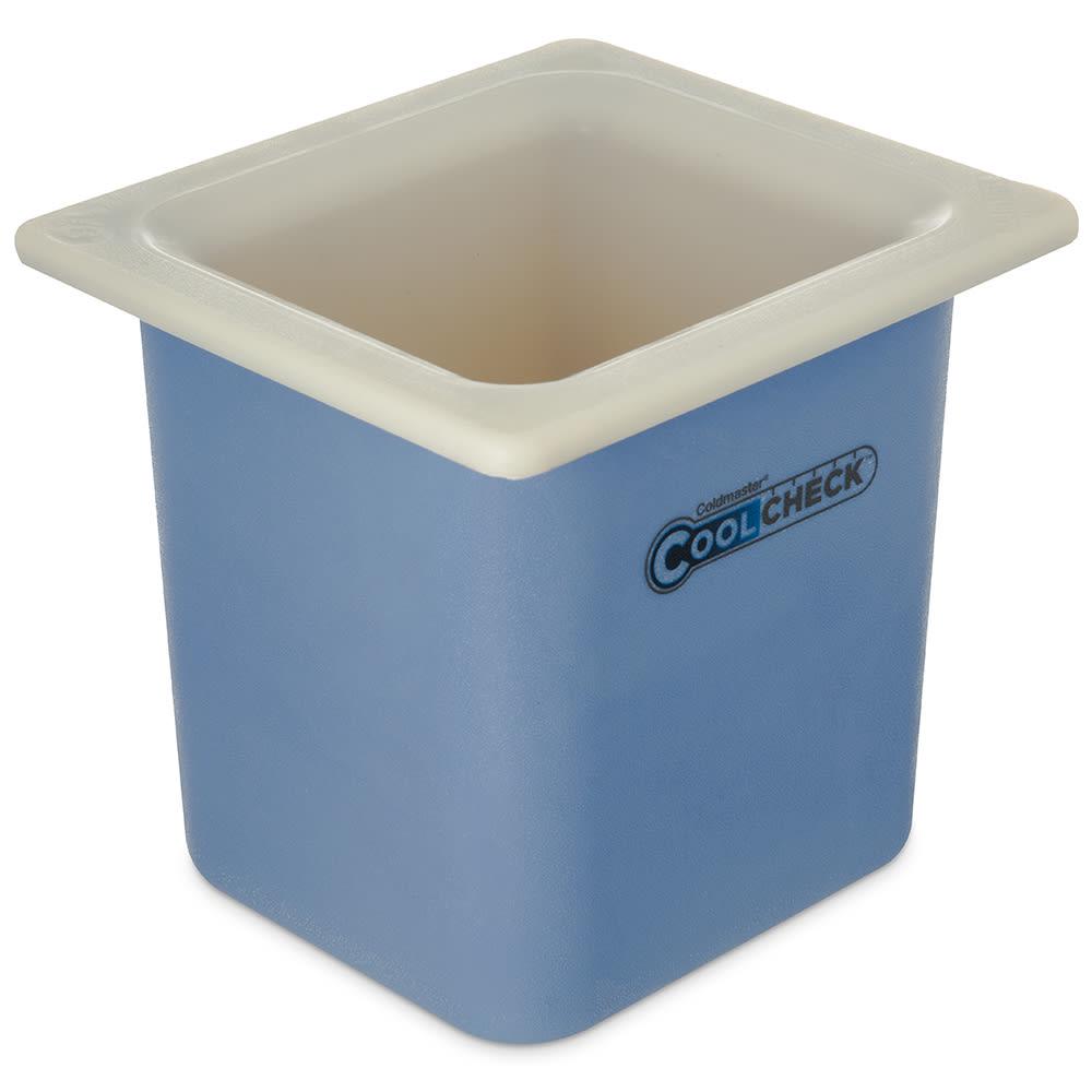 "Carlisle CM1105C1402 1/6 Size Coldmaster Coolcheck Food Pan, 6"" Deep, 1.7 qt Capacity, White/Blue"