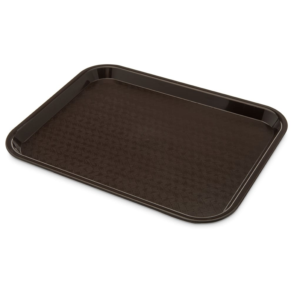 "Carlisle CT101469 Plastic Cafeteria Tray - 13.8""L x 10.75""W, Chocolate"