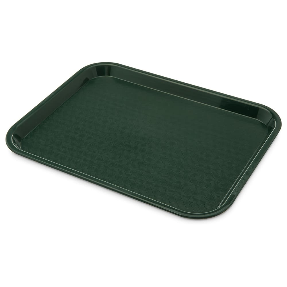 "Carlisle CT101408 Rectangular Cafeteria Tray - 13.875"" x 10.75"", Polypropylene, Forest Green"
