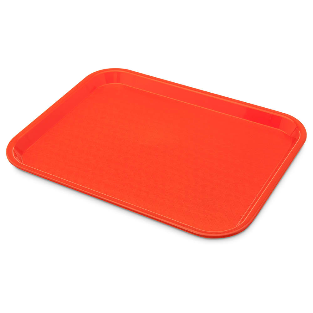 "Carlisle CT101424 Plastic Cafeteria Tray - 13.8""L x 10.75""W, Orange"
