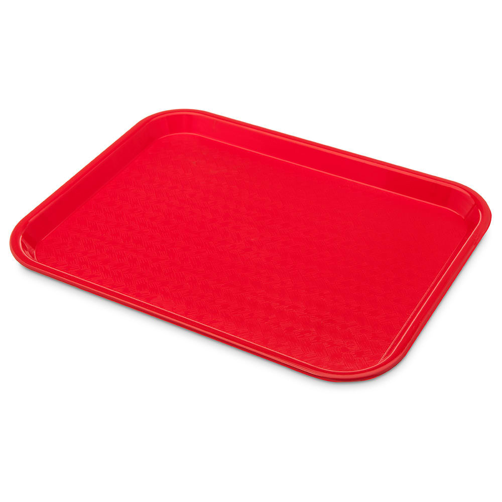 "Carlisle CT101405 Plastic Cafeteria Tray - 13.8""L x 10.75""W, Red"