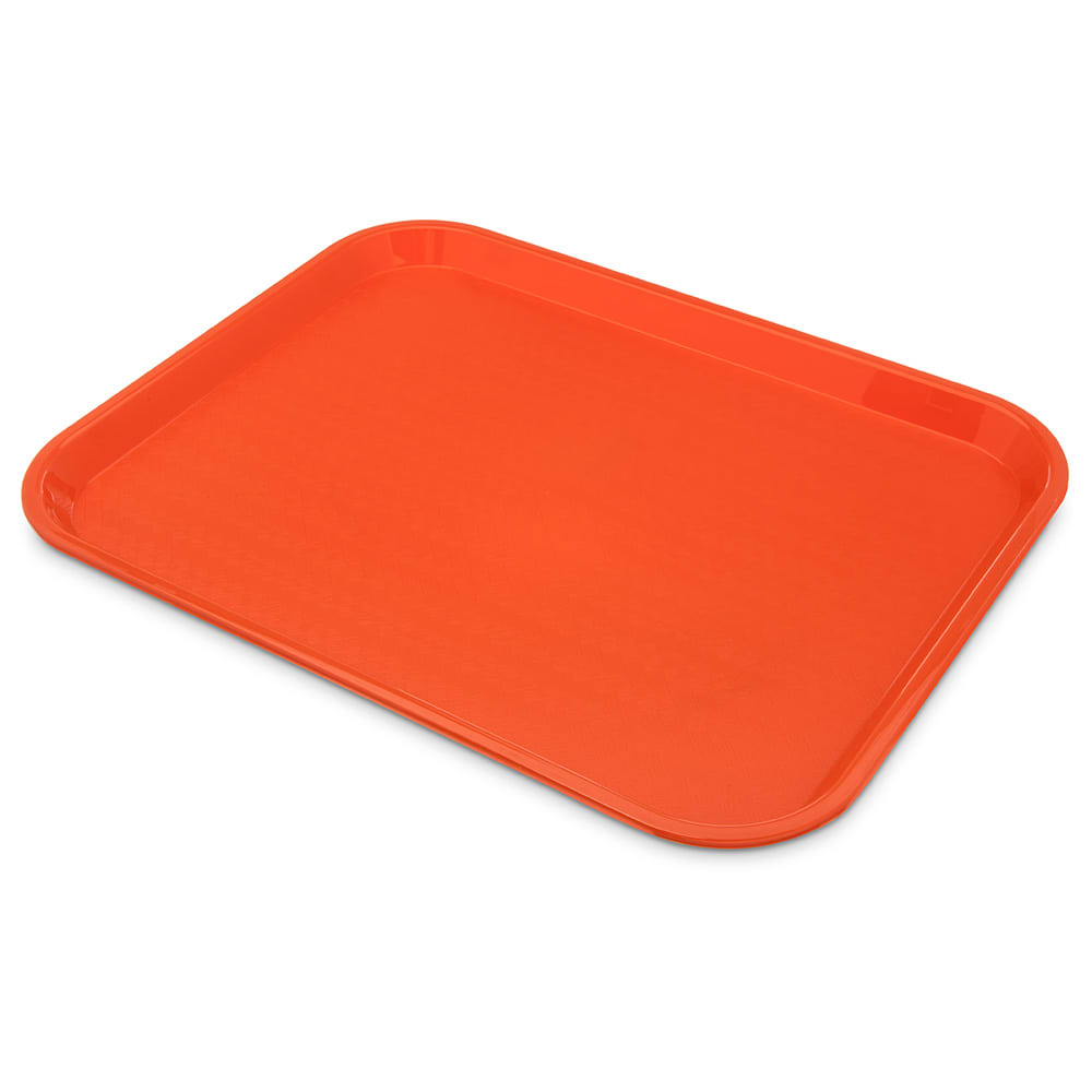 "Carlisle CT141824 Rectangular Cafe Tray - 17.875"" x14"", Polypropylene, Orange"
