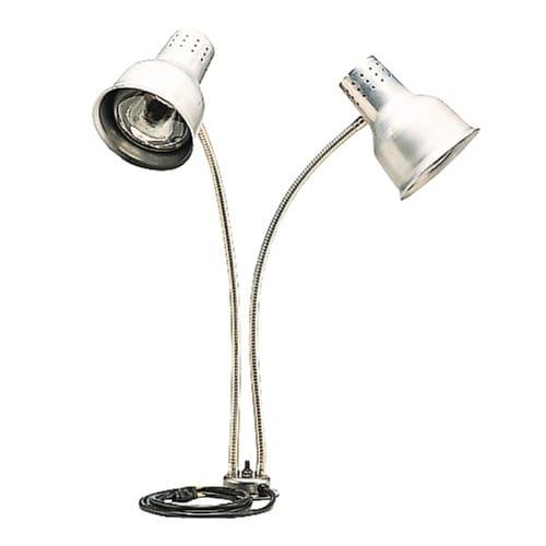 "Carlisle HL828500 Heat Lamp - Counter-Mount, (2)24"" Dual Flex Arms, 4"" Base, Aluminum 110 120v"