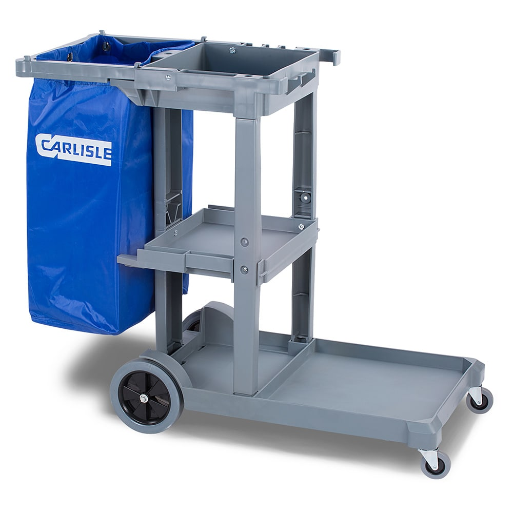Carlisle JC1945S23 Janitor Cart w/ 3 Shelves, Gray/Blue