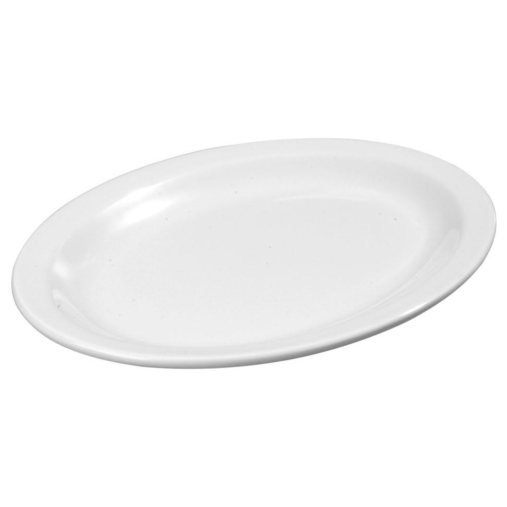 """Carlisle KL12602 Oval Platter - 13.5"""" x 9.75"""", Melamine, White"""