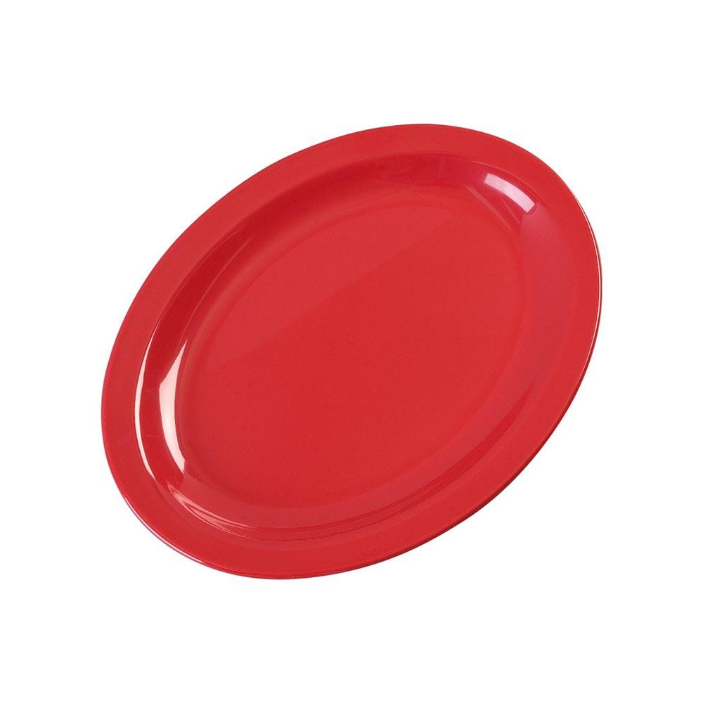 """Carlisle KL12705 Oval Platter - 12"""" x 9"""", Melamine, Red"""