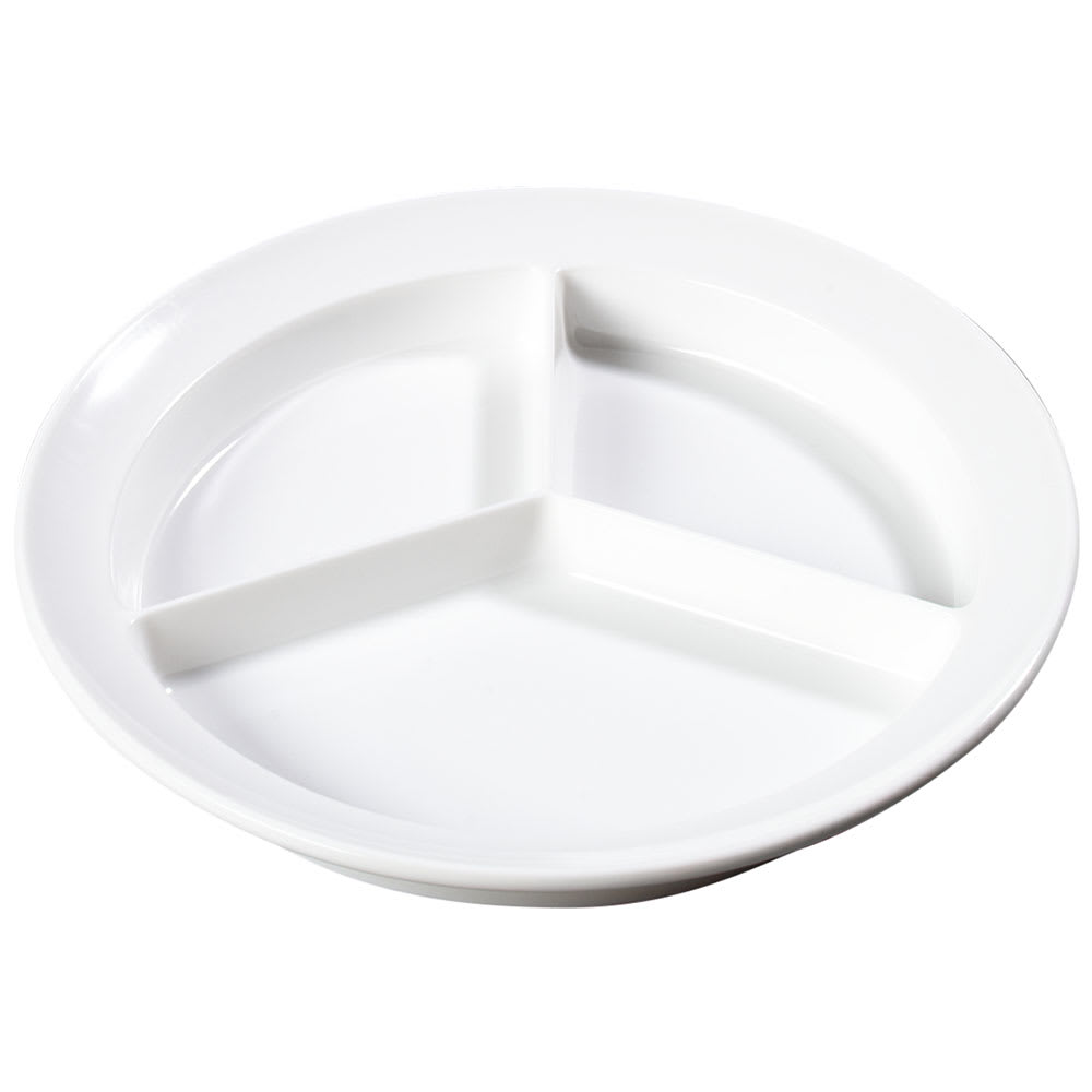 "Carlisle KL20302 8.75"" Round Plate w/ (3) Compartments, Melamine, White"