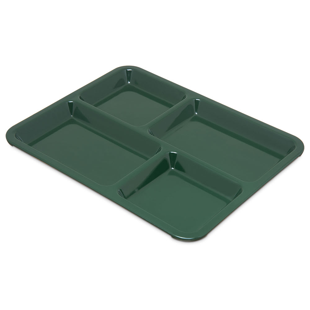 Carlisle KL44408 Rectangular Tray w/ (4) Compartments, Melamine, Forest Green