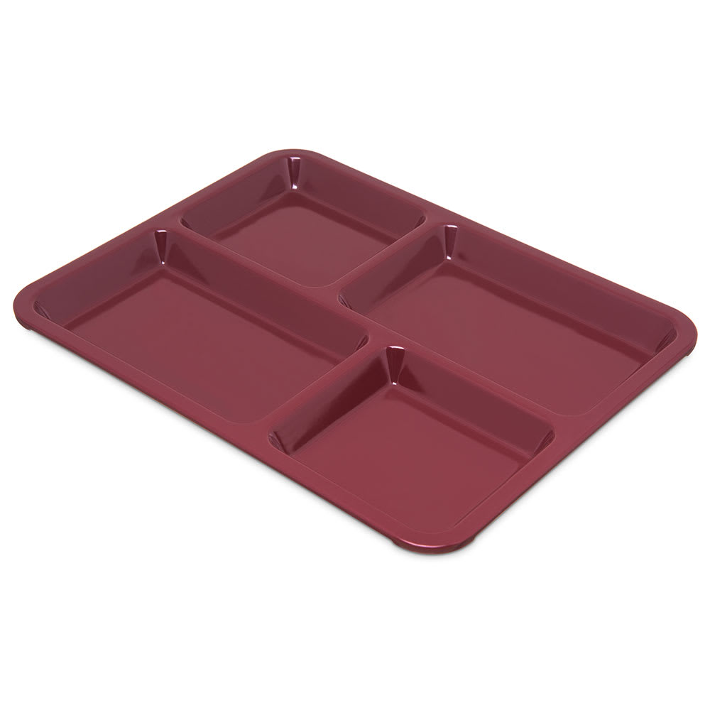 Carlisle KL44485 Rectangular Tray w/ (4) Compartments, Melamine, Dark Cranberry