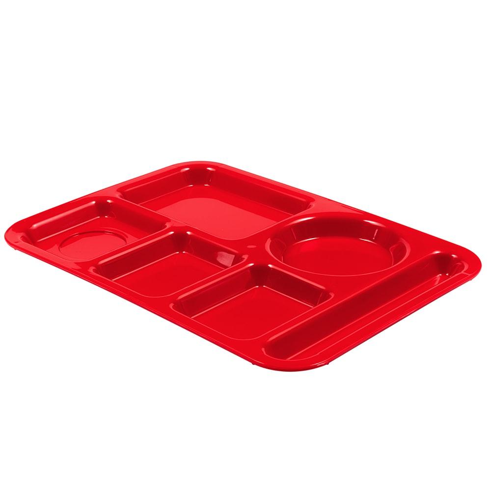 Carlisle P61405 Rectangular Tray w/ (6) Compartments, Polypropylene, Red