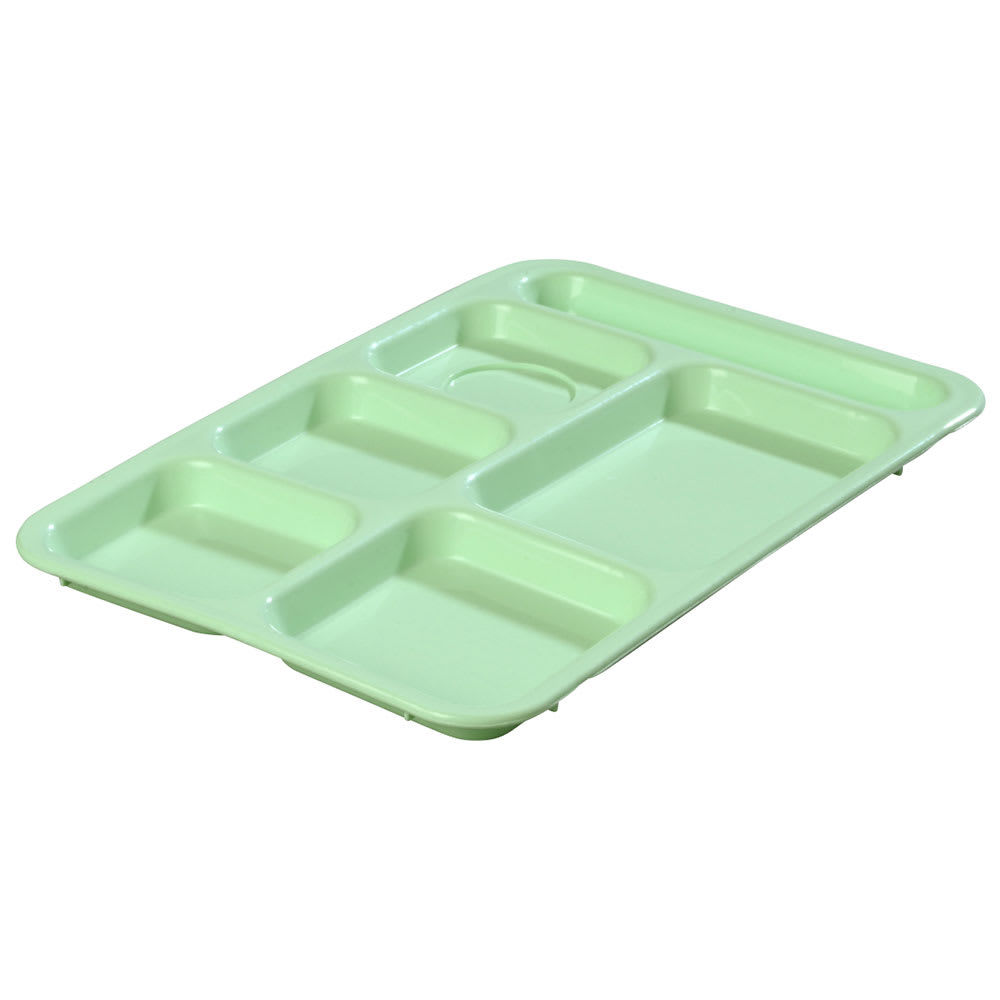 Carlisle P614R09 Rectangular Tray w/ (6) Compartments, Polypropylene, Green