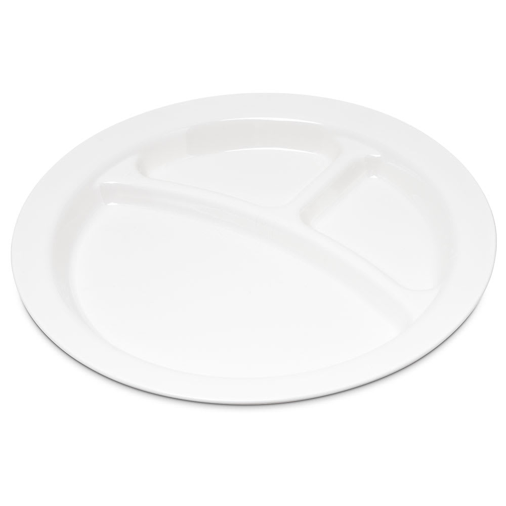 "Carlisle PCD22002 9"" Round Plate w/ (3) Compartments, Polycarbonate, White"